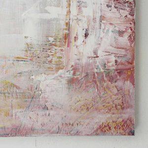 Hoek van abstract schilderij roze door Lindi Melse